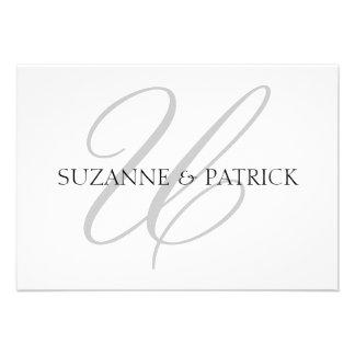Script U Monogram Notecard Silver Black Custom Invitations