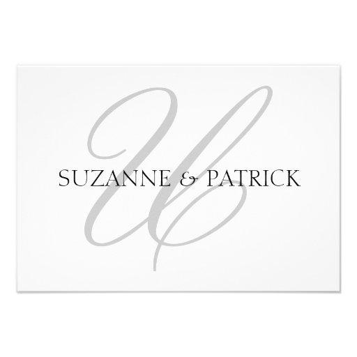 Script U Monogram Notecard (Silver / Black) Custom Invitations