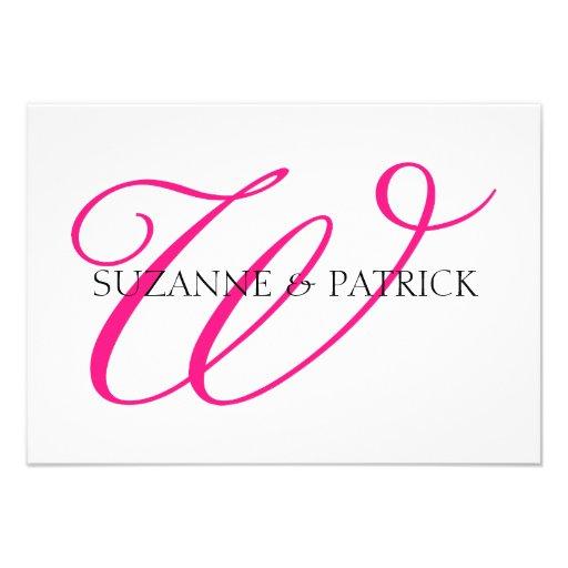 Script W Monogram Notecard (Hot Pink / Black) Custom Invitations