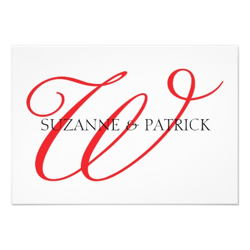 Script W Monogram Notecard (Red / Black) Personalized Announcements