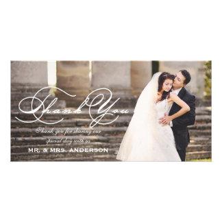 Script Wedding Thank You Photo Greeting Card
