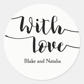 Script With Love Wedding Invitation Card Sticker