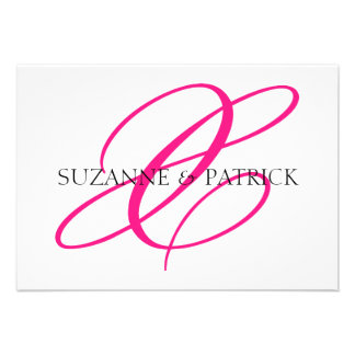 Script X Monogram Notecard (Hot Pink / Black) Personalized Announcements