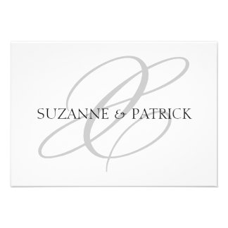 Script X Monogram Notecard Silver Black Personalized Invitation