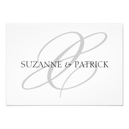 Script X Monogram Notecard (Silver / Black) Personalized Invitation