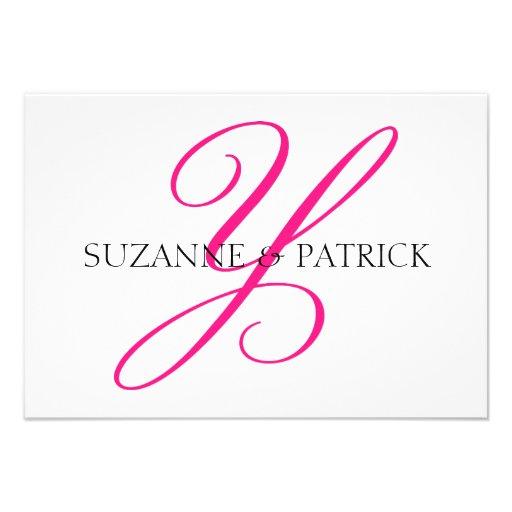 Script Y Monogram Notecard (Hot Pink / Black) Personalized Invites