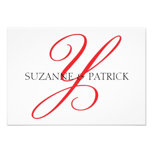 Script Y Monogram Notecard (Red / Black) Custom Announcements