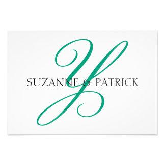 Script Y Monogram Notecard Silver Black Personalized Invites