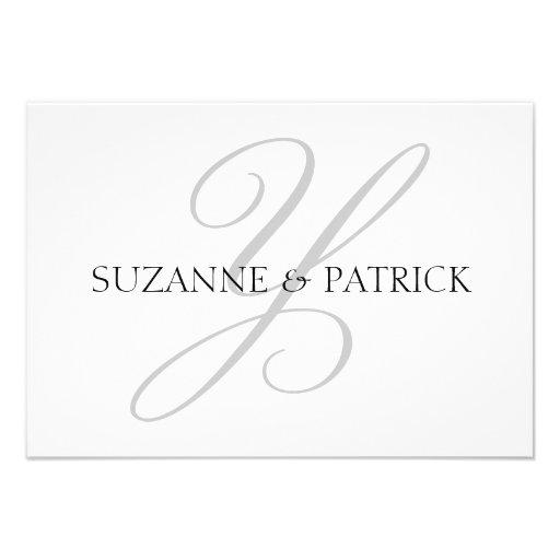 Script Y Monogram Notecard (Silver / Black) Personalized Invitation