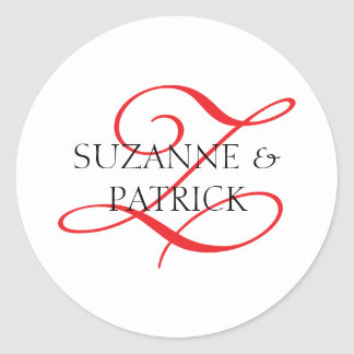 Script Z Monogram Labels (Red / Black) Round Sticker