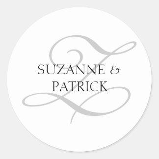 Script Z Monogram Labels (Silver / Black) Round Sticker