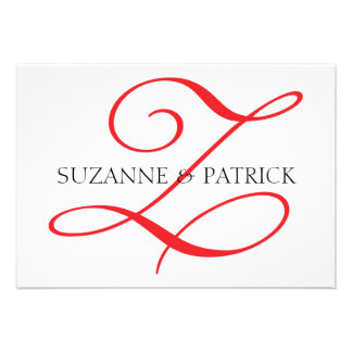 Script Z Monogram Notecard Red Black Announcements