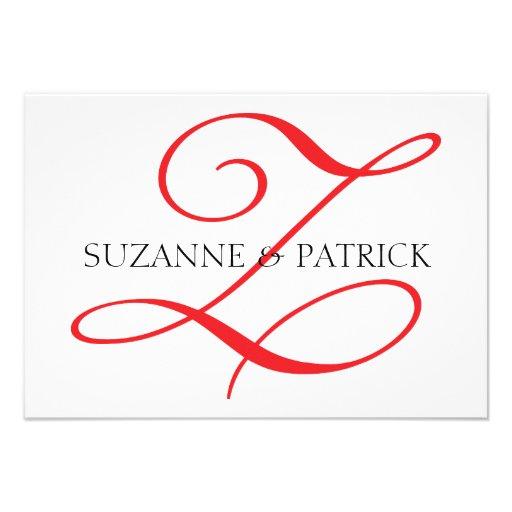 Script Z Monogram Notecard (Red / Black) Announcements