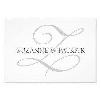 Script Z Monogram Notecard Silver Black Custom Announcements