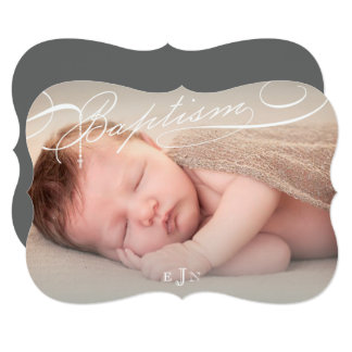 Scripted Baptism Rosary Cross Stylish Invitation