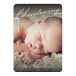 Scripted Christening Modern Cross Blue Baby Photo 13 Cm X 18 Cm Invitation Card