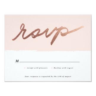 Scripted Love Faux Foil RSVP card