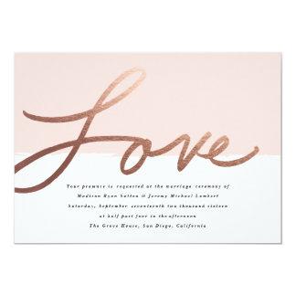 Scripted Love Faux Foil Wedding invitation