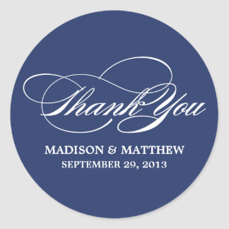 SCRIPTED | WEDDING THANK YOU FAVOR LABEL CLASSIC ROUND STICKER