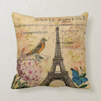 Scripts Hydrangea French Bird Paris Eiffel Tower Cushion