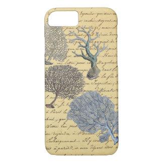 Scripts Nautical coastal chic beach Coral Reef iPhone 8/7 Case