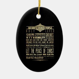 Scriptural Bible Verse - Colossians 3:12-13 Ceramic Oval Decoration