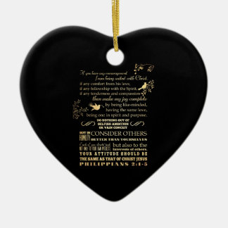Scriptural Bible Verse - Philippians 2: 1-5 Double-Sided Heart Ceramic Christmas Ornament