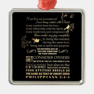 Scriptural Bible Verse - Philippians 2: 1-5 Silver-Colored Square Decoration