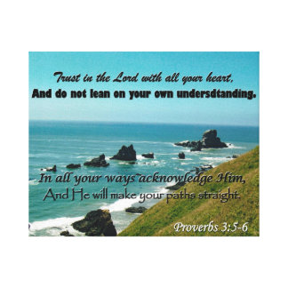 Scripture Art from Proverbs 3:5-6 Large Canvas