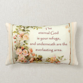 Scripture Bible Verse Floral  Roses Lumbar Cushion