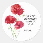 Scripture, Inspirational, Quote, Flower, Poppy Round Sticker