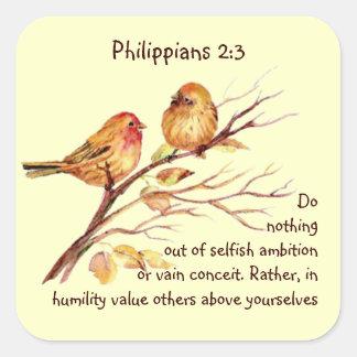 Scripture Philippians 2:3 Love Humility Birds Square Sticker