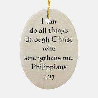 scripture Philippians 4:13 Ceramic Ornament
