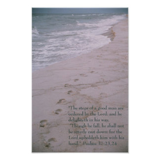 Scripture poster -- footprints on shoreline