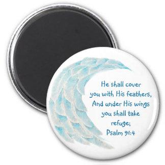 Scripture Psalm 91:4 Refuge Under His Wings Verse Magnet