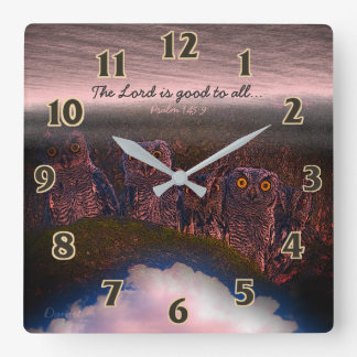 Scripture Psalm Owls Square Wall Clock