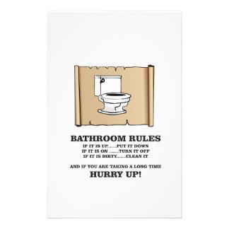 scroll bathroom rules stationery paper