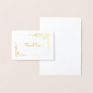 Scroll Corner Border Thank You Mini Foil Card