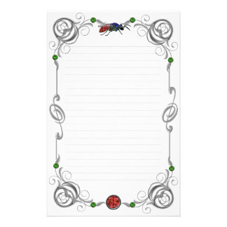 Scroll Cuckoo Wasp Lined Stationery Design