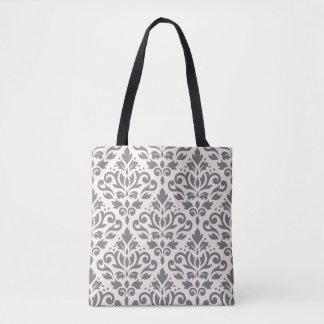Scroll Damask 2Way Big Pattern Gray & Cream Tote Bag