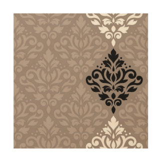 Scroll Damask Art Big Ptn Black White Taupes
