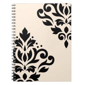 Scroll Damask Art I Black on Cream Notebook
