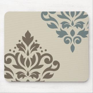 Scroll Damask Art I Brown Teal-Gray Sand Mouse Pad