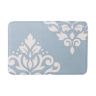 Scroll Damask Art I Cream on Light Blue Bath Mat