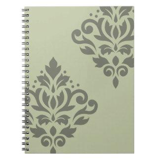 Scroll Damask Art I Dk on Lt Green Notebook