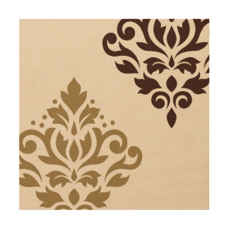 Scroll Damask Art I Gold & Brown on Cream