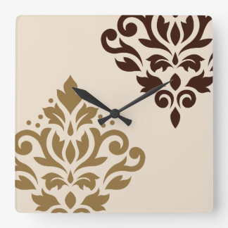 Scroll Damask Art I Gold & Brown on Cream Square Wall Clock