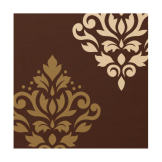 Scroll Damask Art I Gold & Cream on Brown