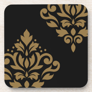 Scroll Damask Art I Gold on Black Drink Coaster