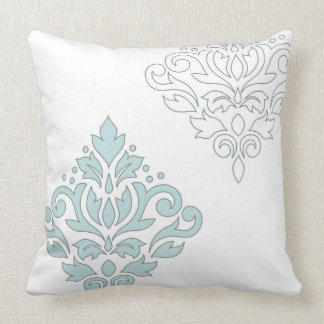 Scroll Damask Art I (line) Duck Egg Blue Gray Wt Cushion
